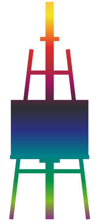 Easel canvas and brush symbol. Rainbow gradient icon of a set