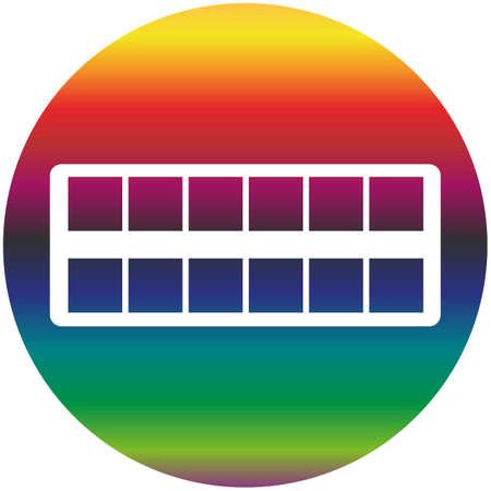 Watercolor paintbox icon of a set. Rainbow gradient vector