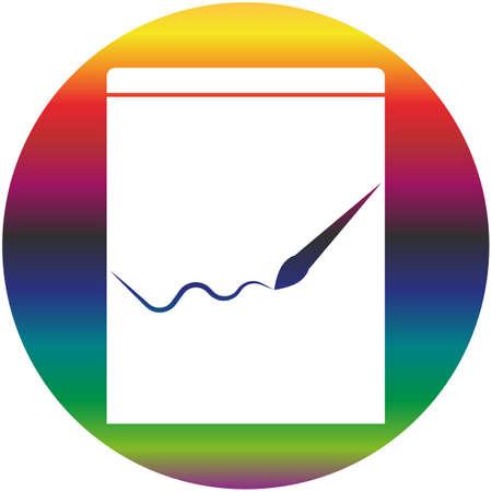 Drawing album vector icon of a set. Gradient rainbow