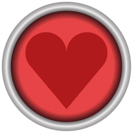 Like - heart red round button of a set. Vector