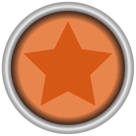 Star orange ronud button of a set. Vector EPS 10