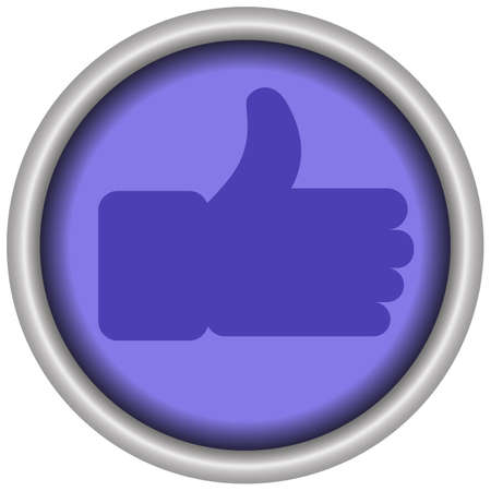 Glossy blue thumbs-up like button icon of a set. Vector EPS 10 Иллюстрация