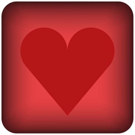 Red rounded square heart with outline icon of a set, button isolated on a white background. Vector EPS 10