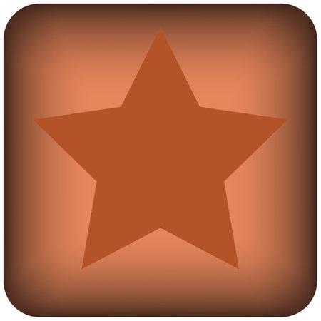 Square orange star button of a set. Vector