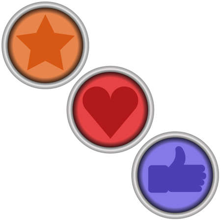 Set of 3 glossy round social vector like buttons.