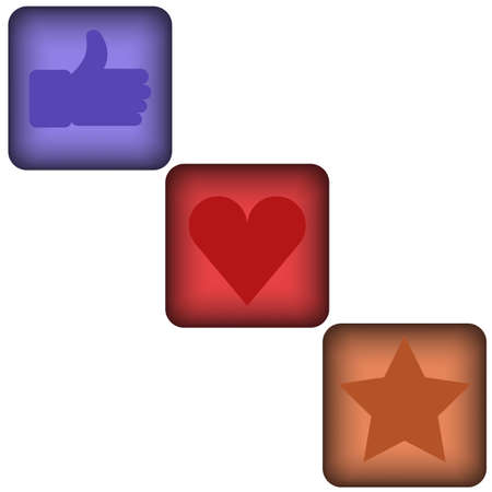 Set of 3 glossy square social vector like buttons.