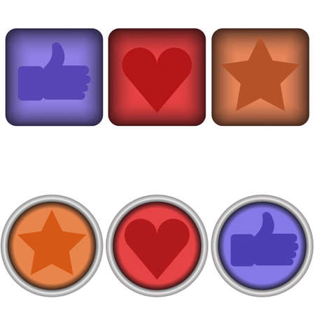 Set of 6 glossy social vector like buttons Иллюстрация