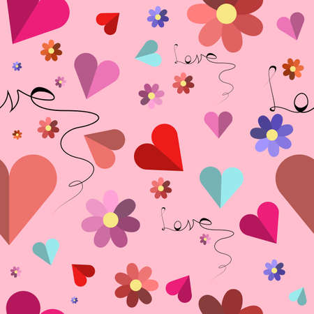 Cute valentines seamless pattern with hearts and flowers. Vector