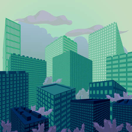 Green evening city perspective, vector illustration, background