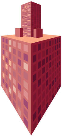 3d house in perspective. City home vector Иллюстрация