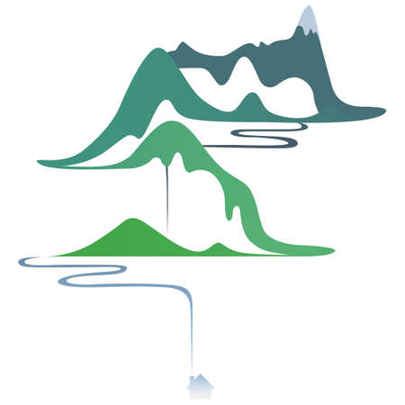 Vector flat landscape. Gradient mountain river and house Иллюстрация