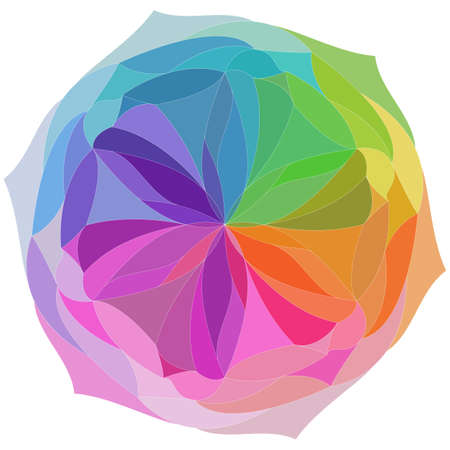 bright abstract colorful flower in rainbow colors on white