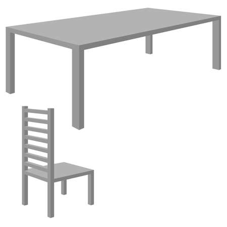 Table with chair. Flat 3d illustration. For infographics and design