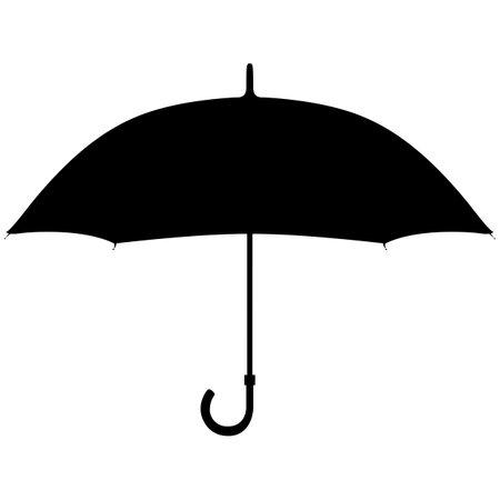 Umbrella. Black silhouette on a white background.