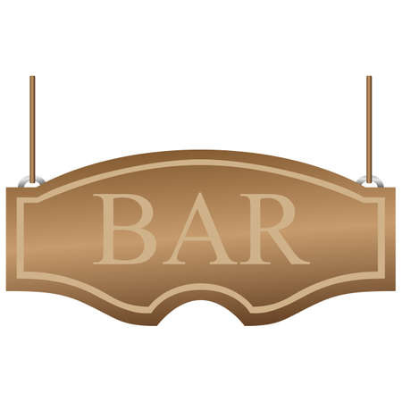 Bar signboard. Curly wooden signboard hanging on the ropes. Vector illustration isolated on white Иллюстрация