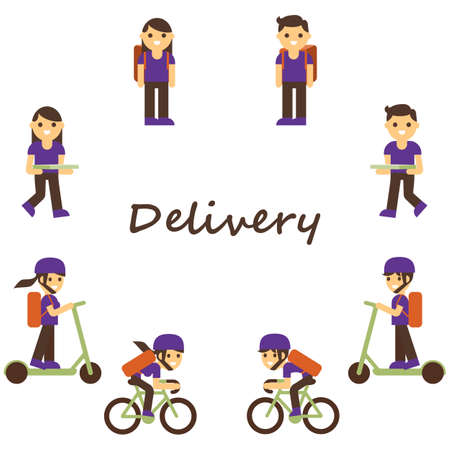 Delivery set. Service, courier package. Young postman on bike, character with pizza. Employee holding box. Postal vector set Иллюстрация