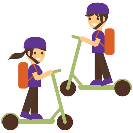 Courier delivery food on electric scooter. Delivery boy and girl deliver fresh hot food, rides fast on an electric scooter. Delivery service from cafes and restaurants. Flat style vector illustration. Иллюстрация