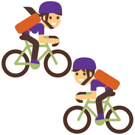 Courier bicycle delivery boy and girl with parcel box on the back. Ecological city bike delivering service illustration with modern cyclist carrying package. Food delivery. Иллюстрация
