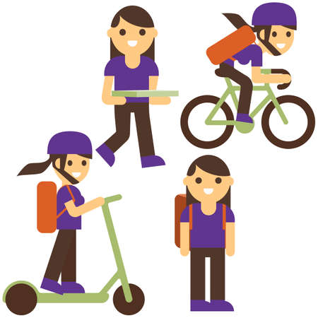 Pizza delivery flat vector illustration. Girl cartoon character. Delivery on scooter, bicycle, carrying box with food isolated design elements. Fastfood courier service. Иллюстрация