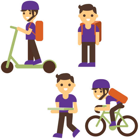 Pizza delivery flat vector illustration. Boy cartoon character. Delivery on scooter, bicycle, carrying box with food isolated design elements. Fastfood courier service.