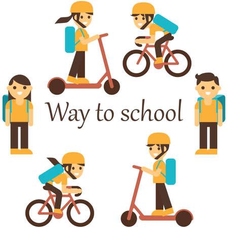 Way to school set. Entrance to school. Vector