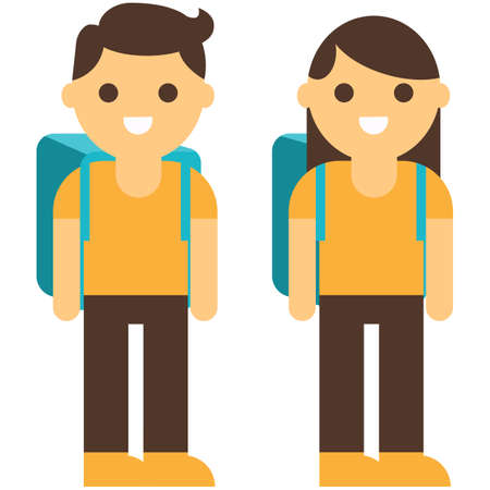 Boy and girl going to school set. Entrance to school. Vector