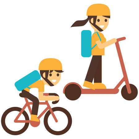 Boy and girl riding to school set. Entrance to school. Vector