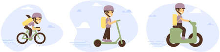 Online delivery service concept, online order tracking, delivery home and office. Warehouse, truck, drone, scooter and bicycle courier, delivery man and girl. Vector illustration