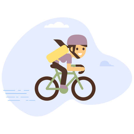 Courier bicycle delivery girl with parcel box on the back. Ecological city bike delivering service illustration with modern cyclist carrying package.