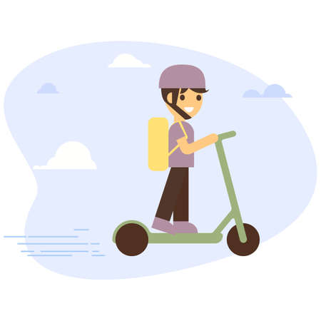 Delivery young male courier riding electric scooter with package product box. Fast shipping service concept on city street map plan with GPS pins and navigation route. Vector illustration