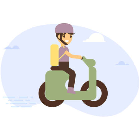 Delivery man riding motor bike. Flat style illustration. Vector