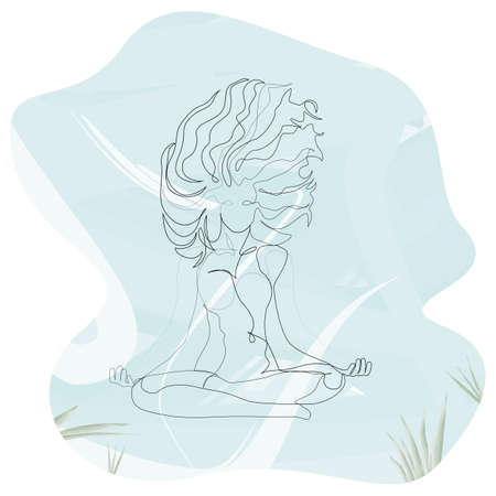 Woman with windy hair doing yoga lotus exercise continuous one line. Vector underwater illustration minimalism style EPS 10