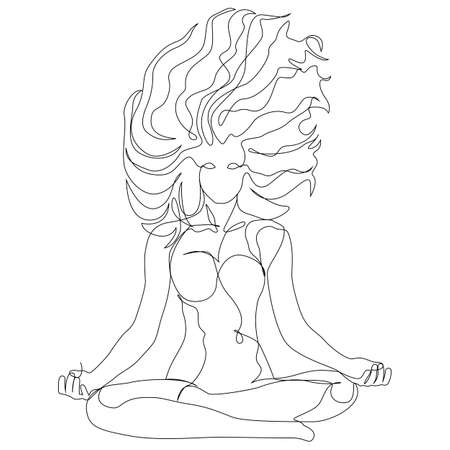 Woman with windy hair doing yoga lotus exercise continuous one line. Vector illustration minimalism style
