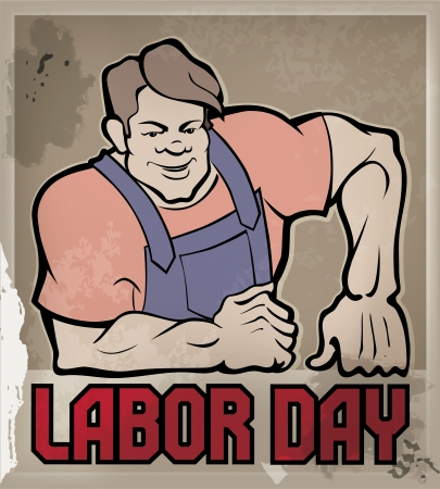 Poster with huge smiling workman and lettering Labor Day, vintage style in dull color