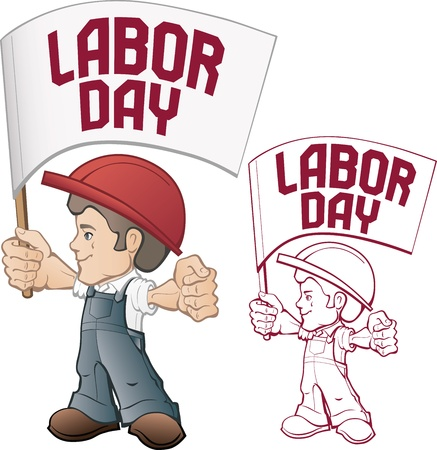 Banner  for Labor day sale with cartoon style  worker in bib overall and hard hat with hummer in rased hand, vintage style in dull color  vertical end horizontal composition with rounded corner  向量圖像