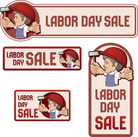 labourer: cartoon style  worker in bib overall and hard hat keep  flag in rased hand  flag  with  Labor Day device   vintage style in dull color