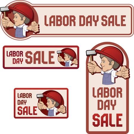 obrero: trabajador en el sombrero de dibujos animados estilo babero general y dif�cil de mantener la bandera en bandera de la mano RASED con el estilo de la vendimia del D�a del Trabajo dispositivo en color mate Vectores