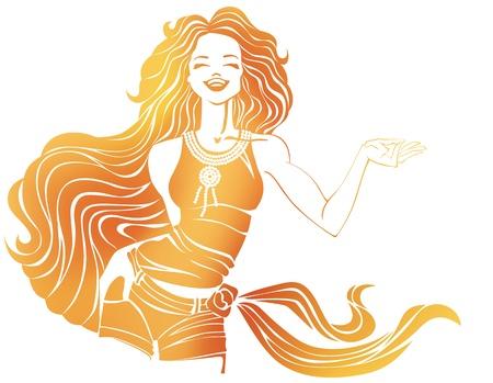 libbenő: sziluettje nevetve csinos fiatal nő T-shirt, nadrág és sál hip, elszigetelt fehér és egy libbenő gyönyörű haj teszi kéz gesztusa felhívás Silhouette lány csoportosítva elhelyeztek képpont