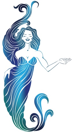 fluttering: silhouette of laughing cute young woman  in long flowing evening dress, isolated on white  With a  fluttering gorgeous hair  Looks like mermaid  Makes hand gesture of invitation  Silhouette of girl grouped and placed on transparency mask   Illustration