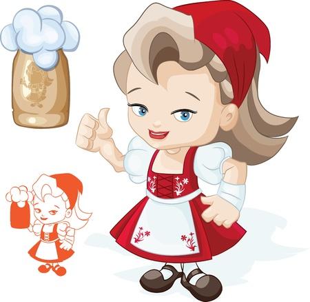 comida alemana: Mujer linda joven en rojo dirndl est� mostrando los pulgares para arriba signo Taza de cerveza puede ser colocado en Silhouette mano con la taza a�adido Vectores
