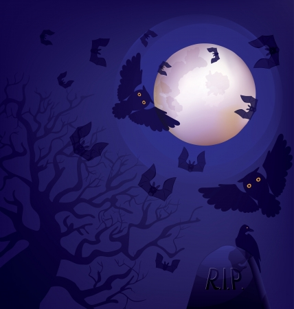 full day: Night at a cemetery  Owls and bats  are flying  Crow seats at the stone with R I P  epitaph   Old crooked tree  Full moon   Halloween  Day of the Dead
