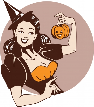 pinup: Smiling girl in witch costume take a curved pumpkin  Vintage pin up style