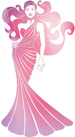 libbenő: sziluettje nevetve csinos fiatal nő hosszú folyó estélyi ruha, elszigetelt fehér és egy libbenő gyönyörű haj Úgy néz ki, diva