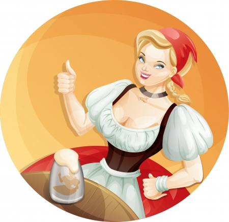 Cute young woman in red dirndl is showing thumbs-up sign  Vector