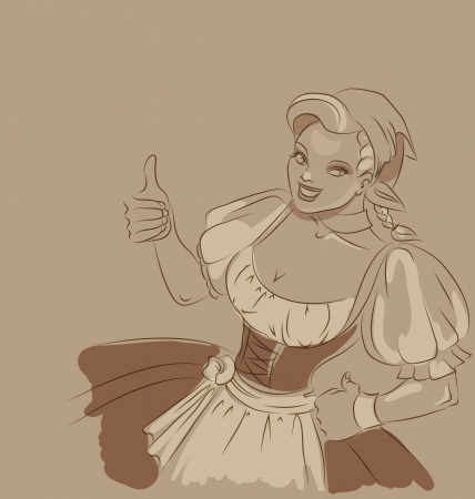 german food: Cute  young woman in  dirndl is showing thumbs-up sign   toned sketch