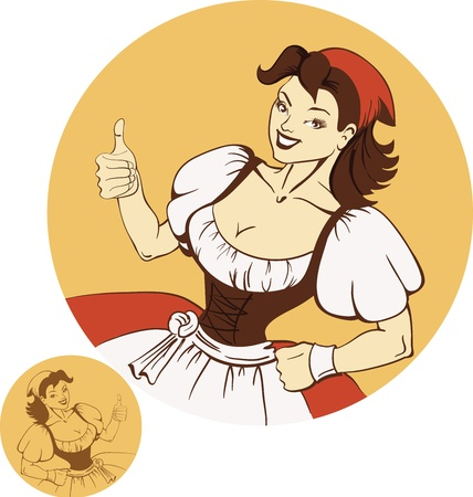 Cute young girl in dirndl in pin-up retro style Vector