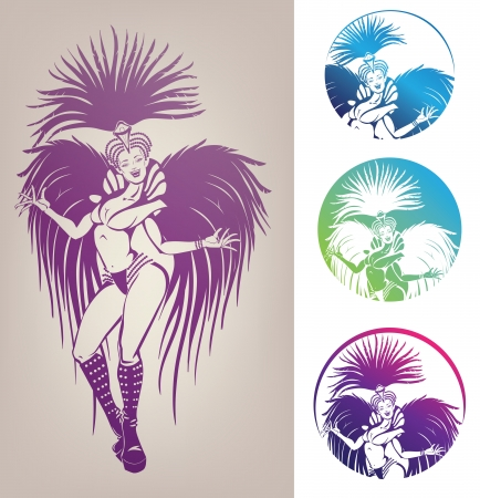 showgirl: inked linework gorgeous pretty smiling young woman dansing in carnival feather costim Illustration