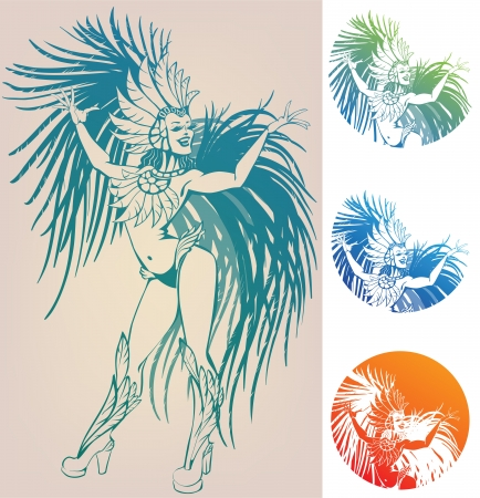 burlesque: inked linework gorgeous pretty smiling young woman dansing in carnival feather costim Illustration