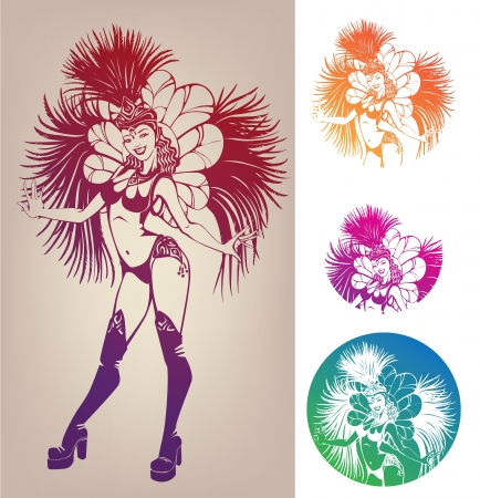 carnival girl: l�nea de trabajo con tinta magn�fico muy sonriente joven dansing en el carnaval de plumas costim