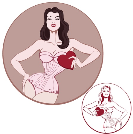 vintage pin up: Young smiling attractive  brunet woman in corset hold a cart in form of shap Illustration